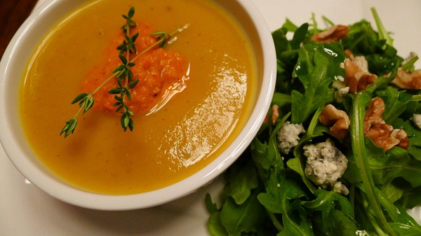 Roasted Squash Soup with Red Pepper Purée