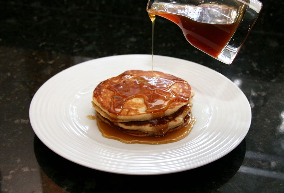 Applesauce Pancakes with Spiced Apple Syrup