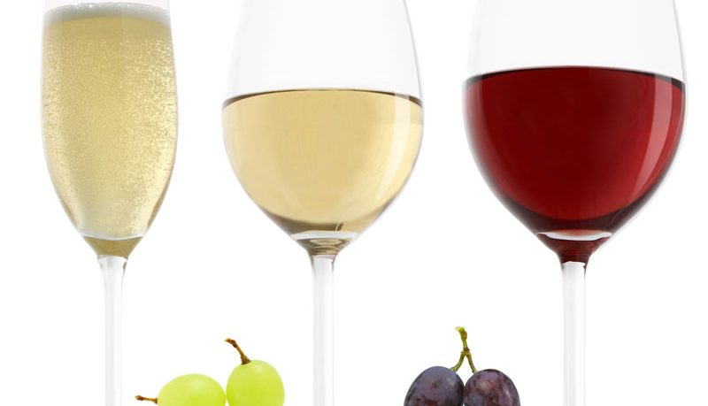 white wine red wine glasses