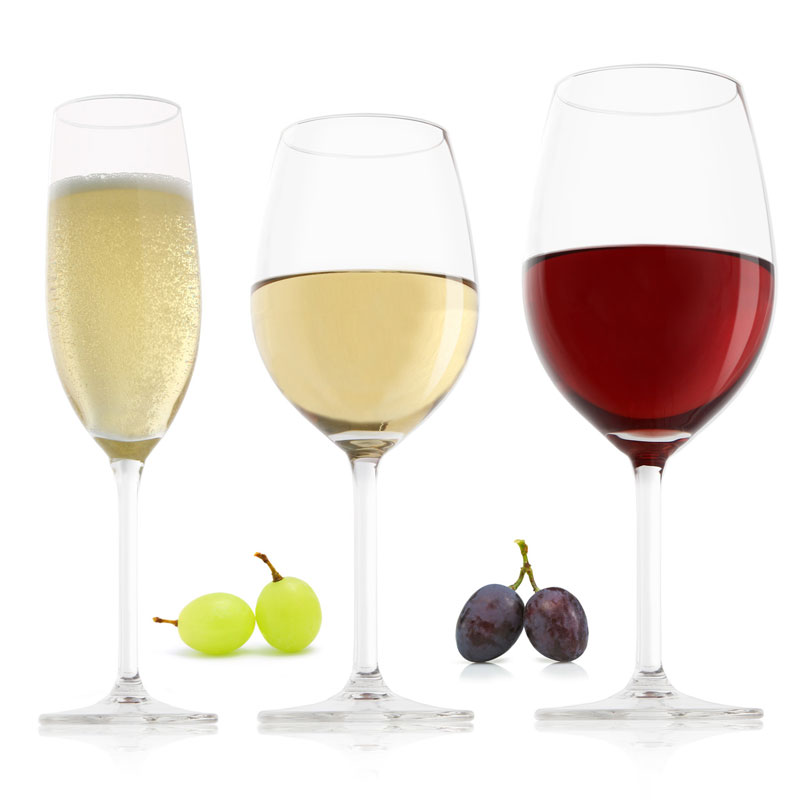 white wine red wine glasses