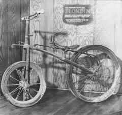 The bicycle that Blondin used on one of his many trips over the gorge on a tightrope