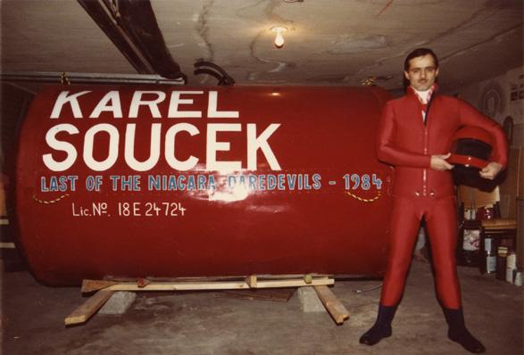Karel Soucek stands confidently in front of his barrel.