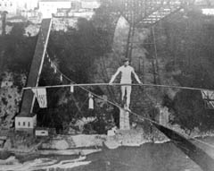 Samuel Dixon crosses the gorge on a tightrope
