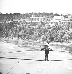 "William Hunt, of Port Hope Ontario, also known as The Great Farini took an ""Empire Washing Machine"" out on his rope, over the NIagara Gorge, on September 5th, 1860. He then proceeded to draw water up from the river and do his washing."
