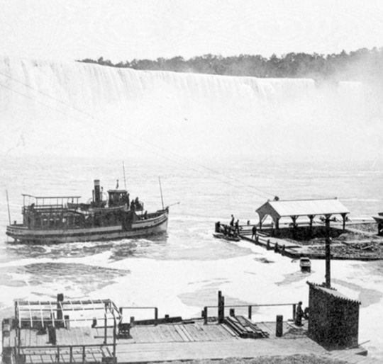 Maid of the Mist approaching the landing on the Canadian side, [ca. 1880]