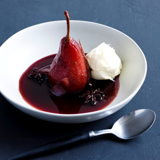 Pear With Wine, Vanilla Ice-Cream And Pepper