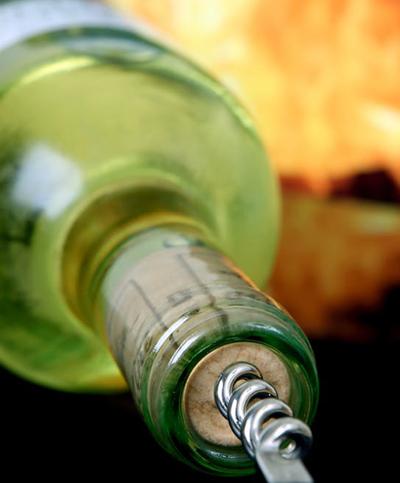 uncorking wine